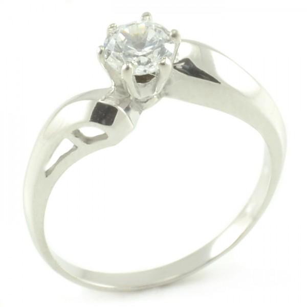 Zásnubný prsteň z bieleho zlata s nepravidelnou šínou Adela