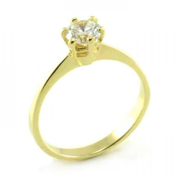 Zásnubný prsteň zo žltého zlata s typickým centrálnym zirkónom Marta