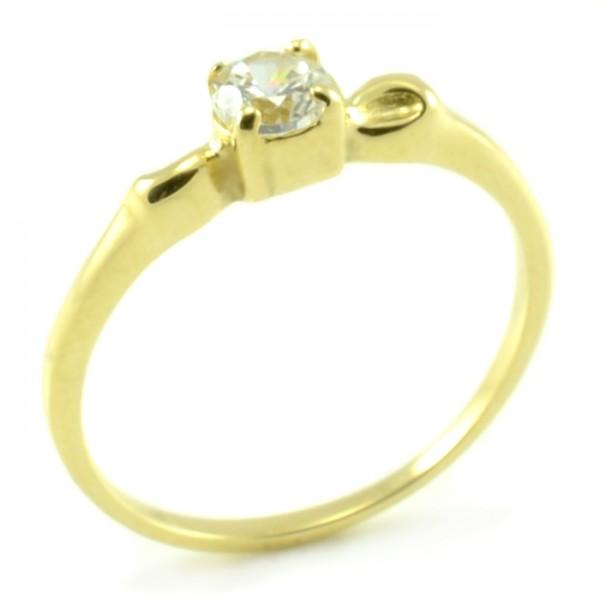 Zásnubný prsteň zo žltého zlata s jemným vzhľadom mašličiek Klaudia
