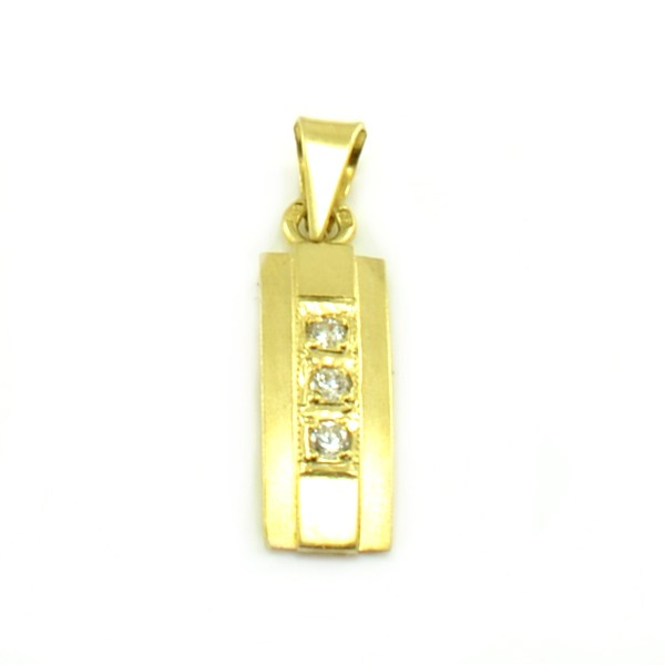 Prívesok zo žltého zlata- trojkameňový