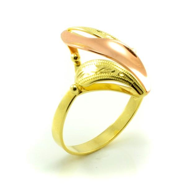 Prsteň zo žltého a červeného zlata s lístkami