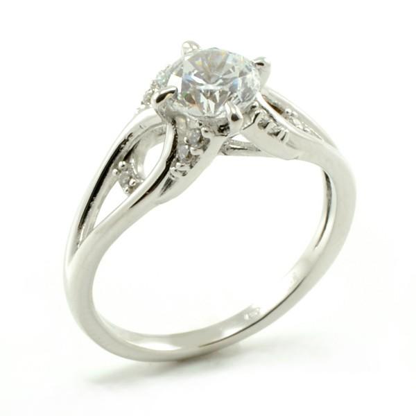 Zásnubný prsteň z bieleho zlata Karin so 6mm zirkónom