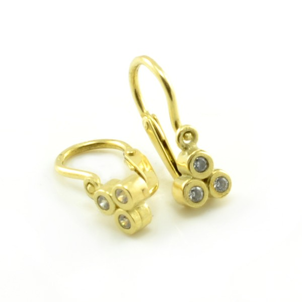 Zlaté detské náušnice - žlté zlato 3 kusy čírych zirkónov