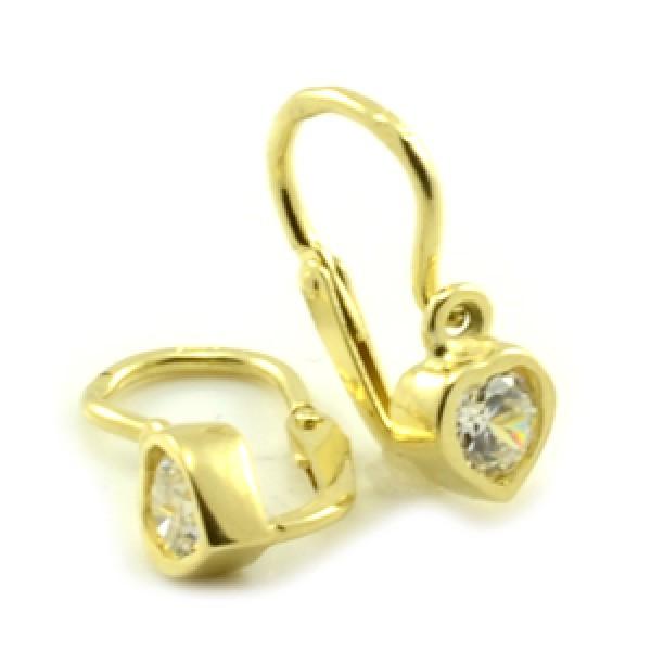 Zlaté detské náušnice-žlté zlato, tvar srdca s čírym zirkónom