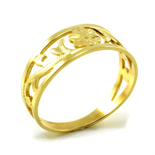 Prsteň zo žltého zlata-vyrezávaný