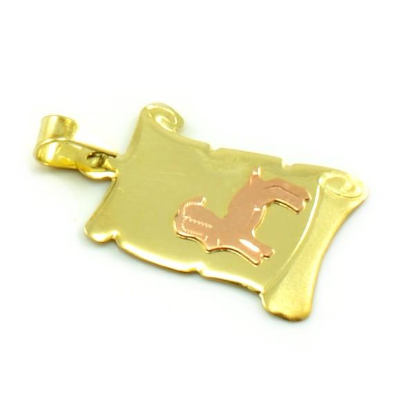 Znamenie zo žltého zlata v tvare zvinutého listu papiera - kozoroh