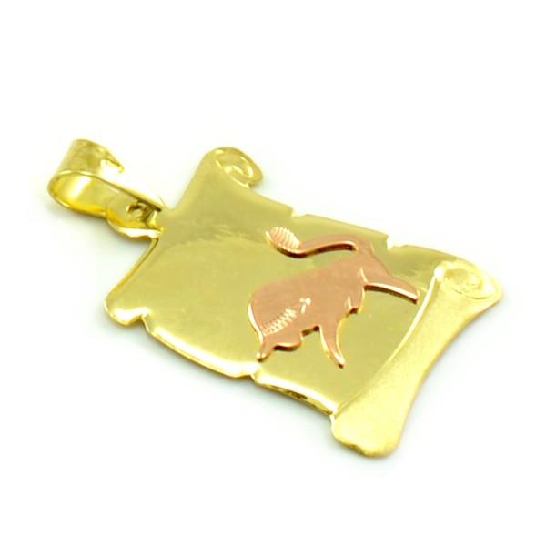 Znamenie zo žltého zlata v tvare zvinutého listu papiera - býk