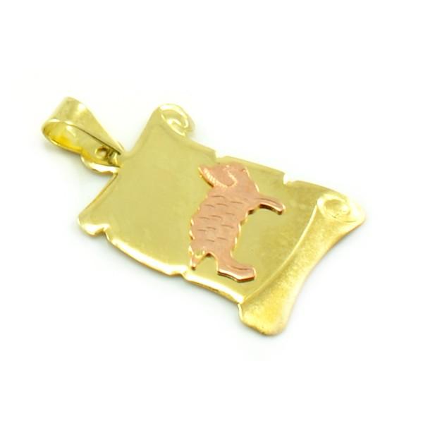 Znamenie zo žltého zlata v tvare zvinutého listu papiera - baran