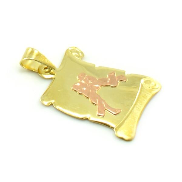 Znamenie zo žltého zlata v tvare zvinutého listu papiera - blíženci
