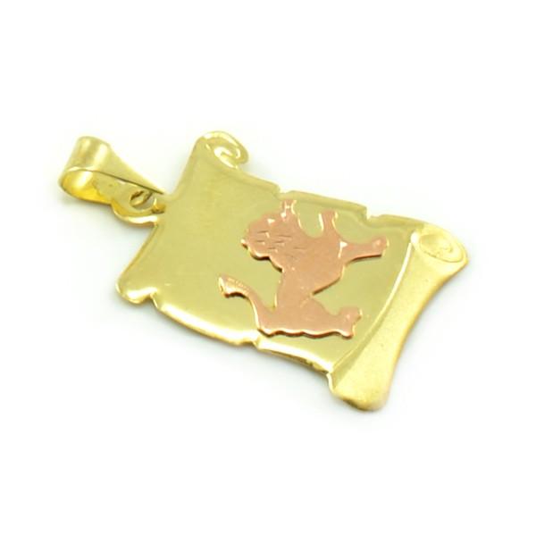 Znamenie zo žltého zlata v tvare zvinutého listu papiera - lev