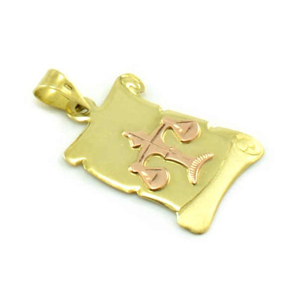 Znamenie zo žltého zlata v tvare zvinutého listu papiera - váhy