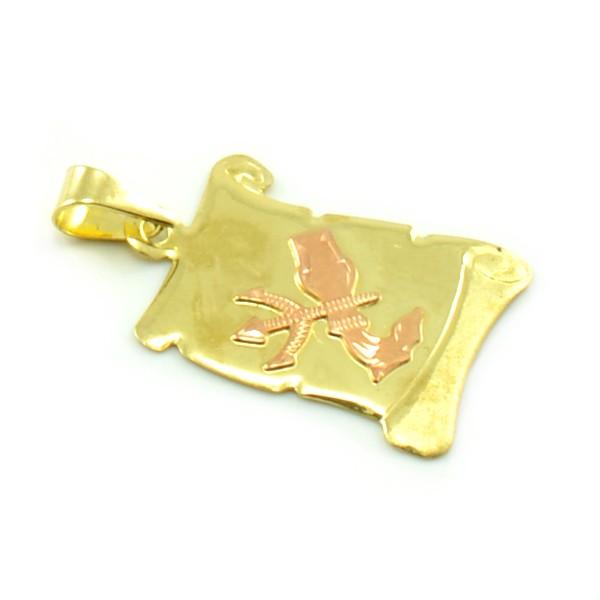 Znamenie zo žltého zlata v tvare zvinutého listu papiera - vodnár