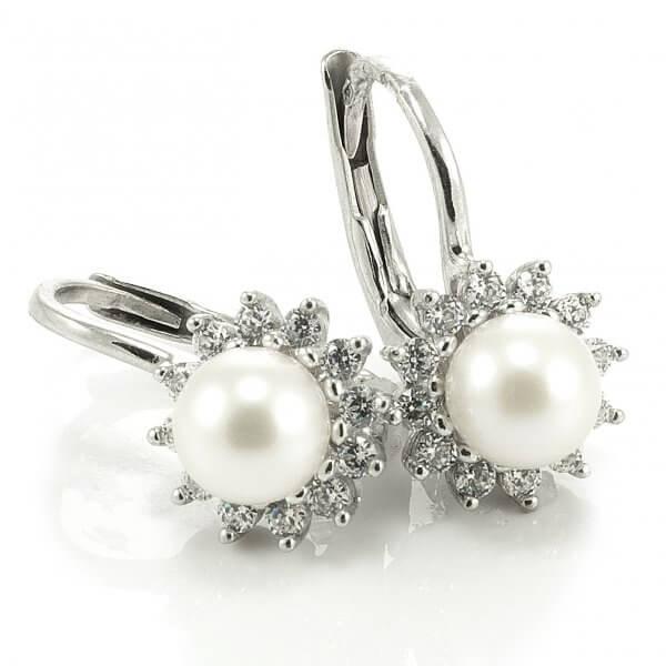 Náušnice z bieleho zlata - Kvetinka s perlou