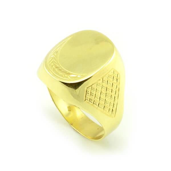 Zlatý pánsky oválny prsteň celozlatý