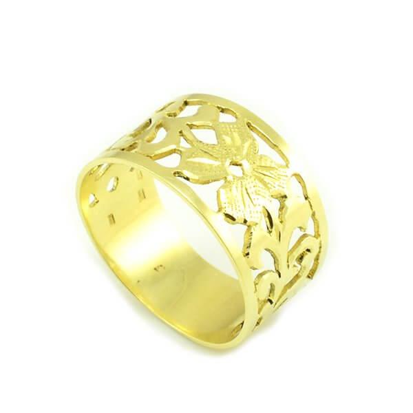 Prsteň zo žltého zlata široký-vyrezávaný