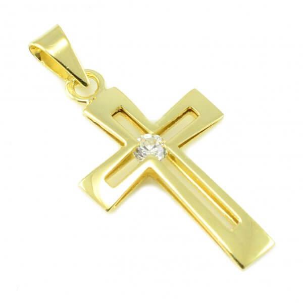 Zlatý prívesok - Krížik so zirkónom